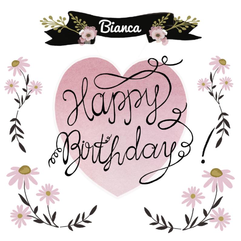 Verjaardagskaarten - Happy Birthday hart tekst