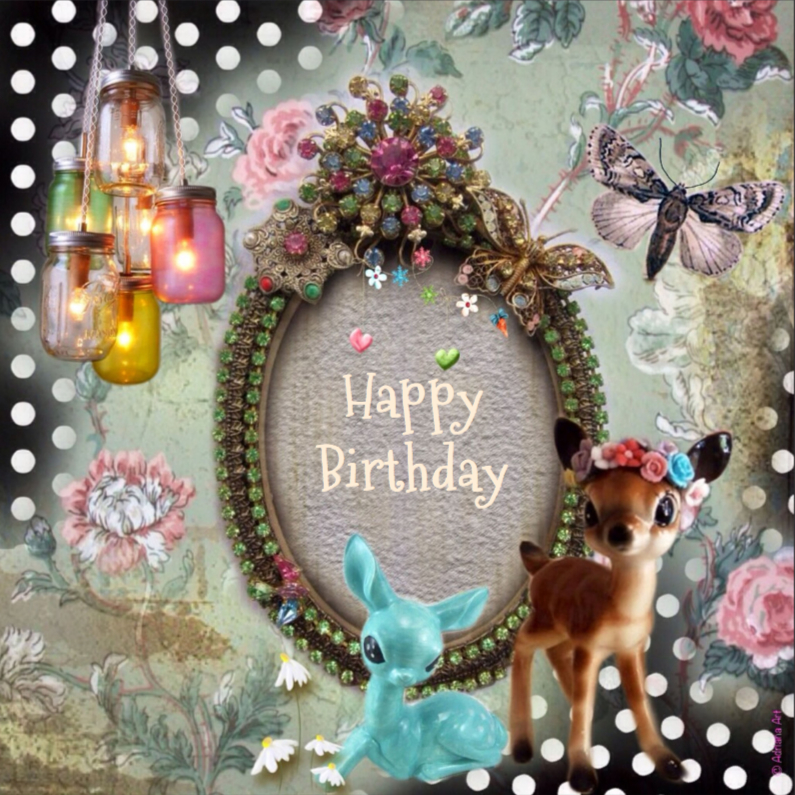 Verjaardagskaarten - Happy Birthday hertjes