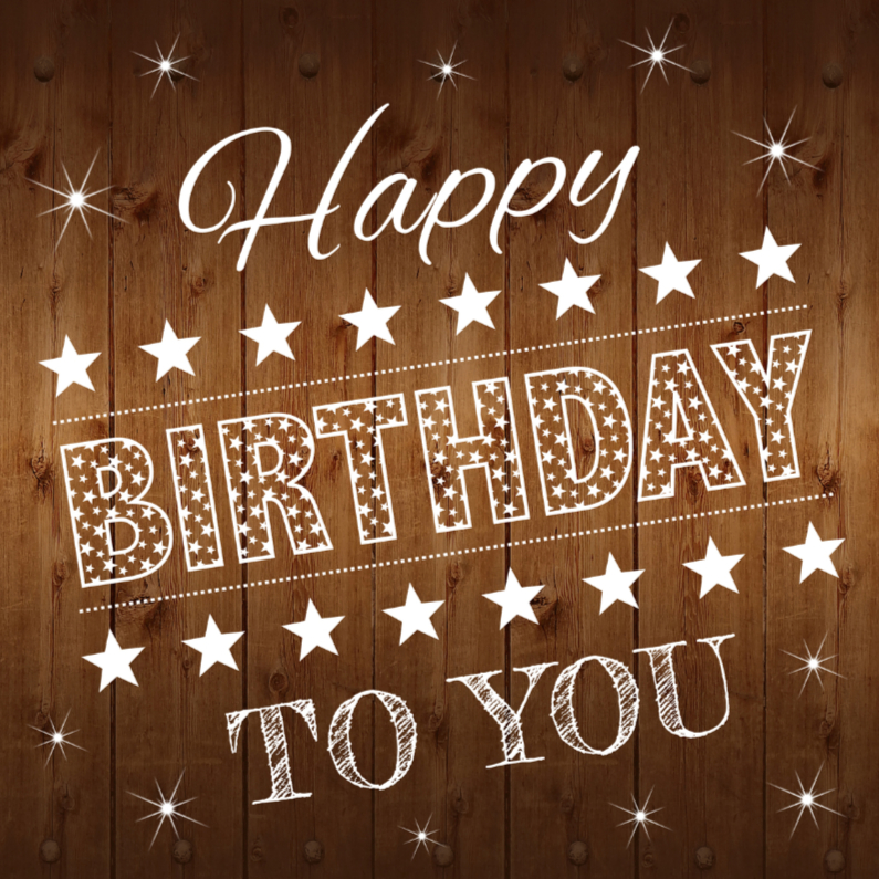 Verjaardagskaarten - Happy Birthday Hout tekst
