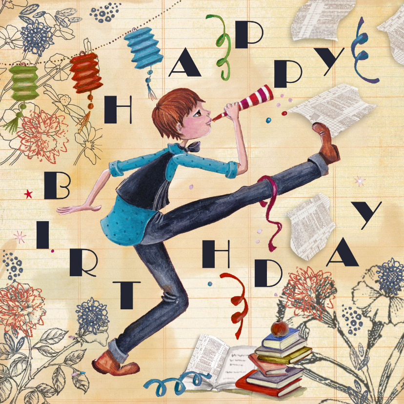 Verjaardagskaarten - Happy Birthday Jongen Feest Illustratie