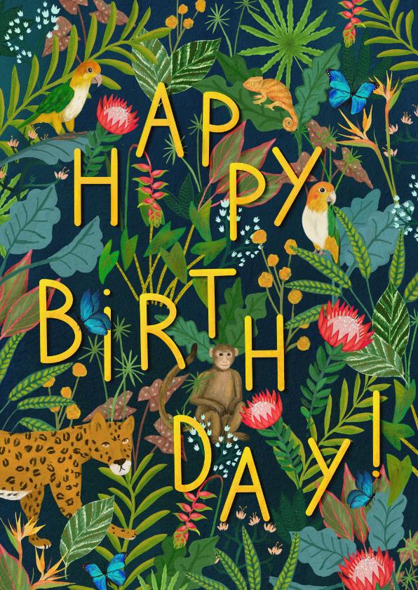Verjaardagskaarten - Happy Birthday! Jungle verjaardagskaart