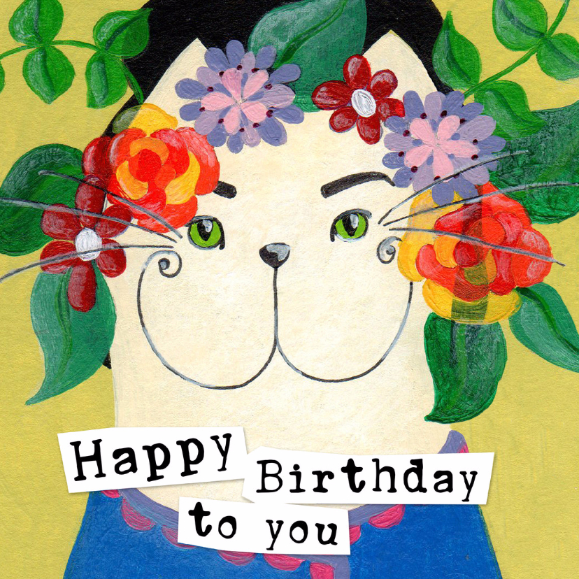 Verjaardagskaarten - Happy Birthday Kat bloemen