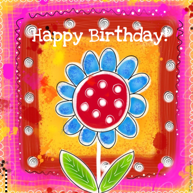 Verjaardagskaarten - Happy Birthday kleurige bloem