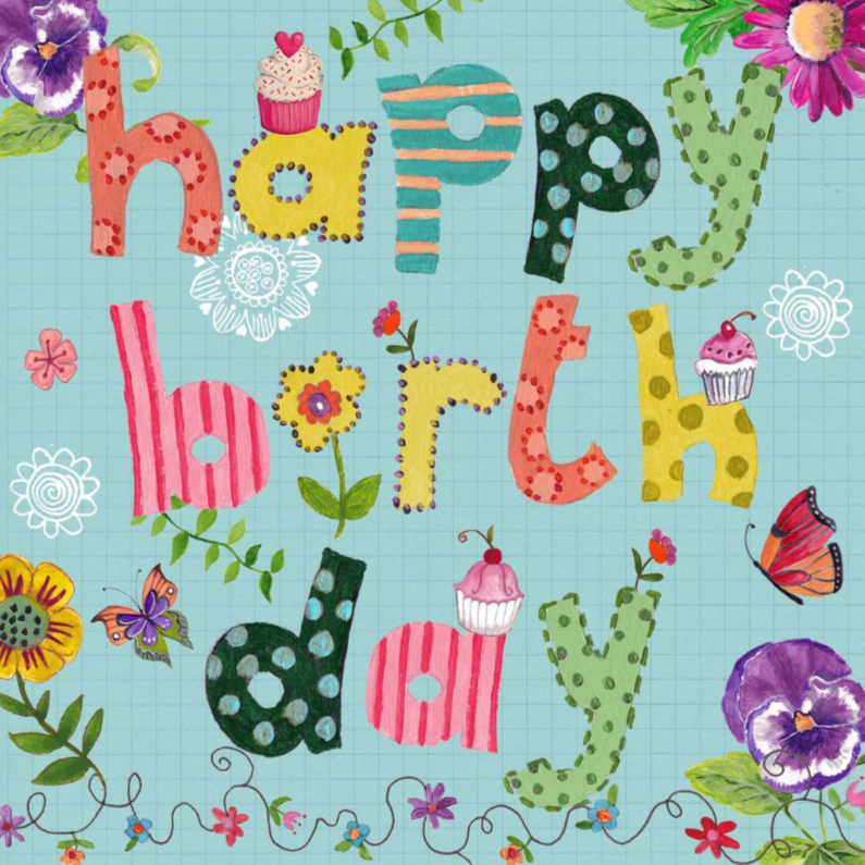 Verjaardagskaarten - Happy Birthday Letters Bloemen Vrolijk B