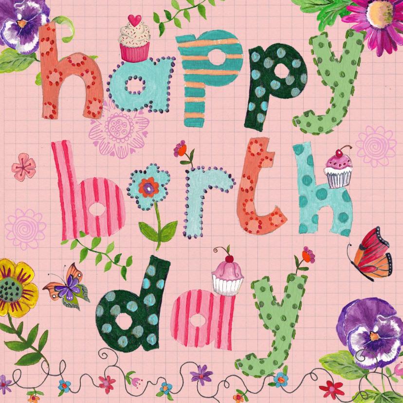 Verjaardagskaarten - Happy Birthday Letters Bloemen Vrolijk roze