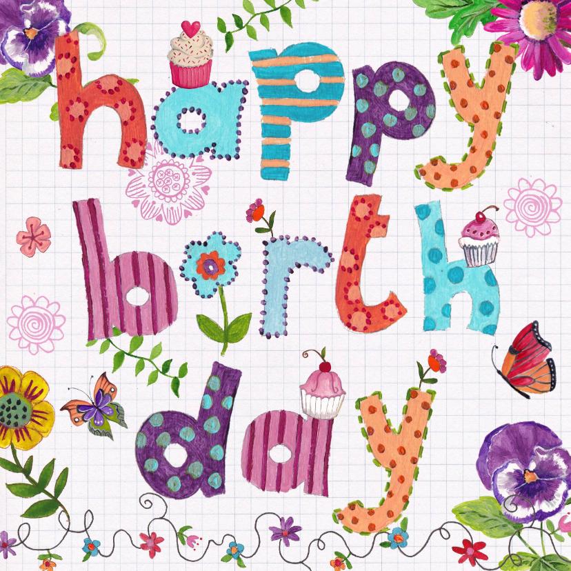Verjaardagskaarten - Happy Birthday Letters Bloemen Vrolijk ruitje