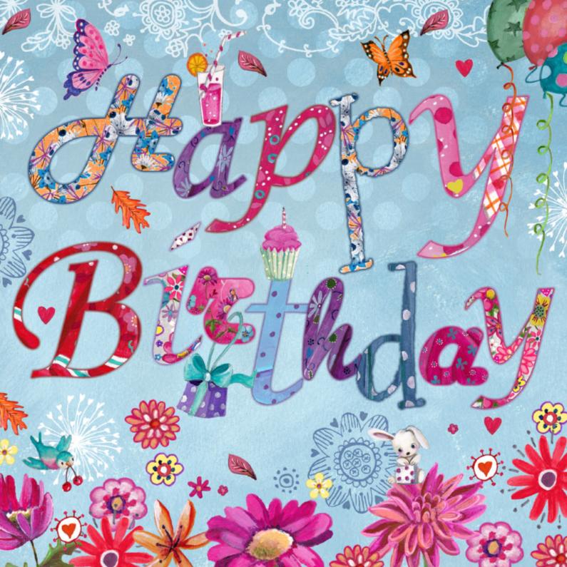 Verjaardagskaarten - Happy Birthday Letters Bloemen
