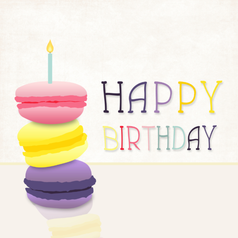 Verjaardagskaarten - Happy birthday Macarons