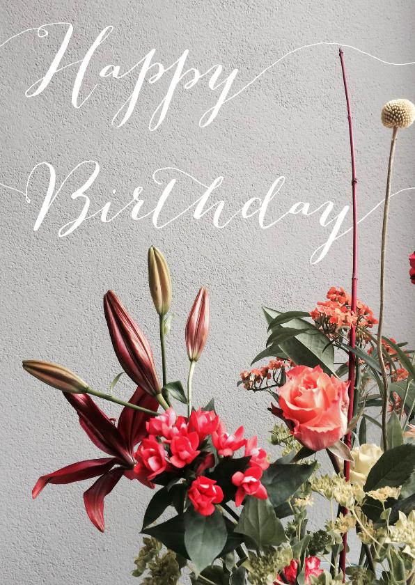 Verjaardagskaarten - Happy Birthday met boeket