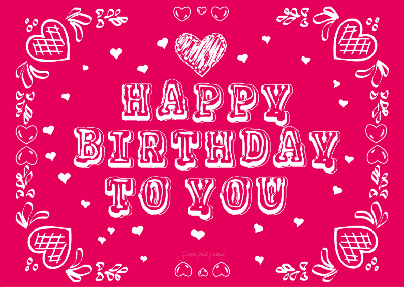 Verjaardagskaarten - Happy Birthday met hartjes