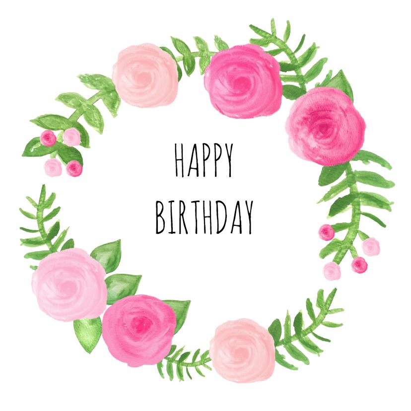 Verjaardagskaarten - Happy birthday rozen - SU