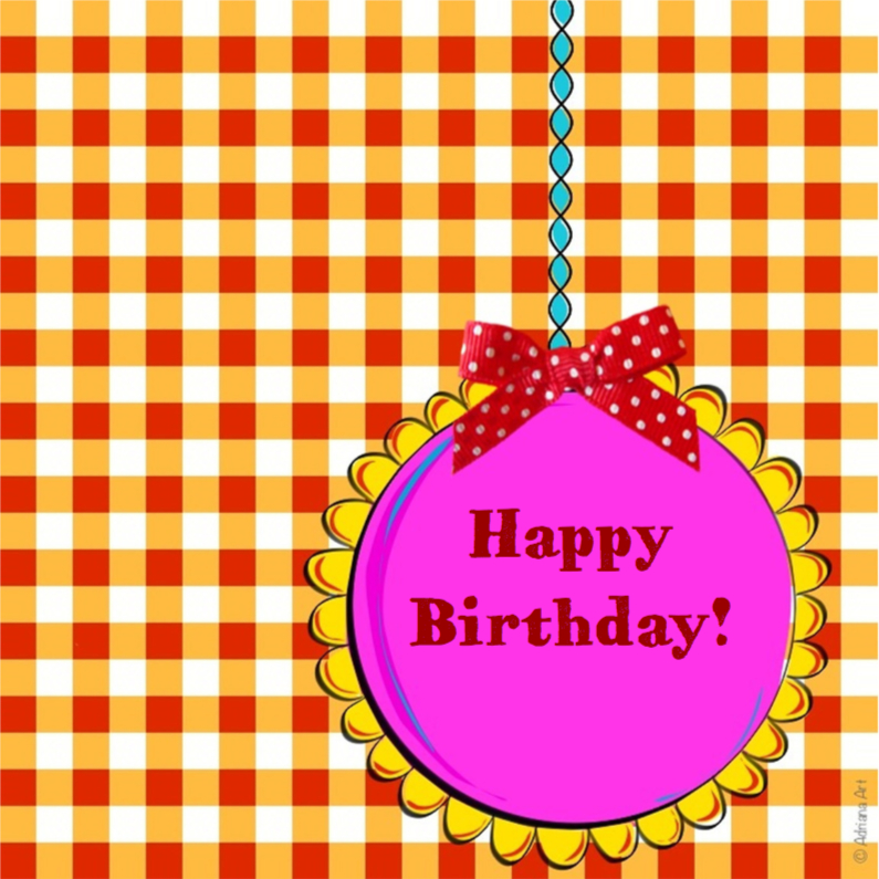 Verjaardagskaarten - Happy Birthday ruitjes oranje