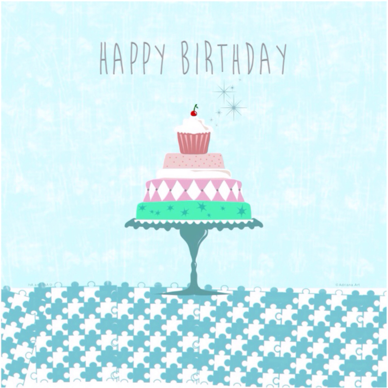 Verjaardagskaarten - Happy birthday taart pastel