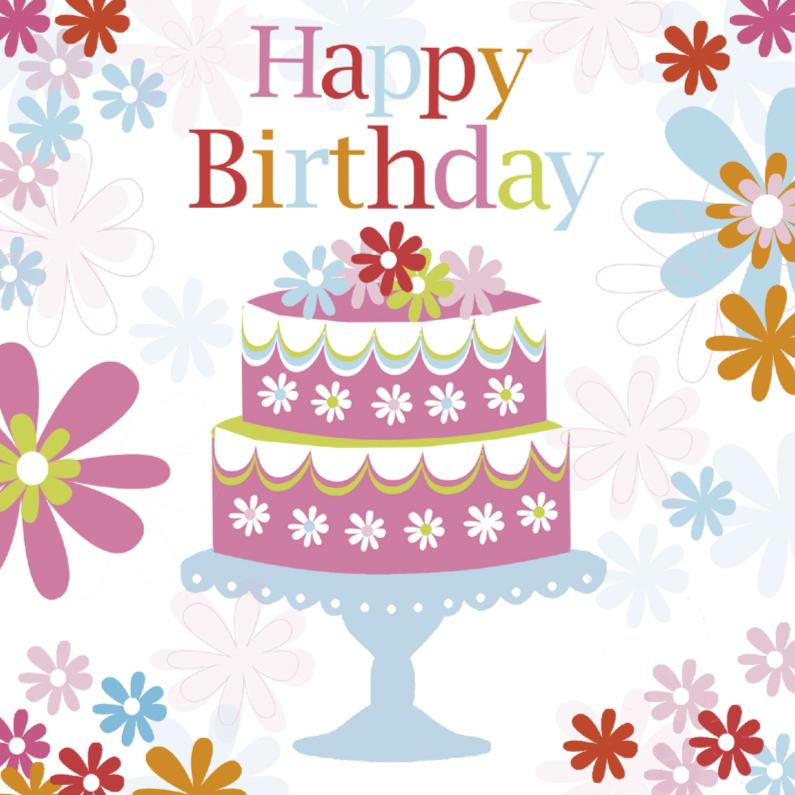 Verjaardagskaarten - Happy Birthday taart