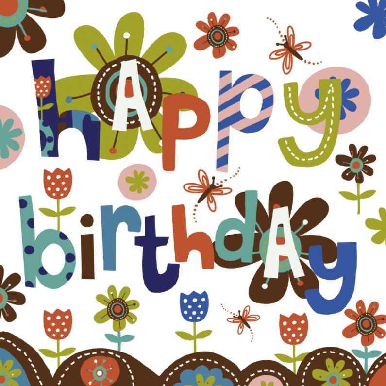 Verjaardagskaarten - Happy Birthday tekst bloemen