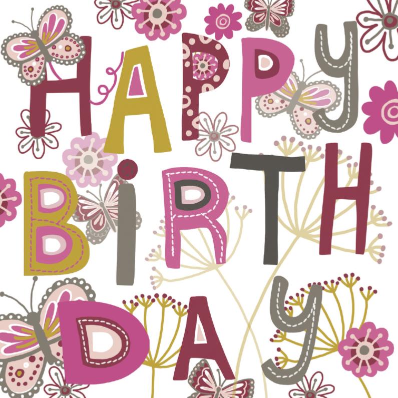 Verjaardagskaarten - Happy Birthday tekst met vlinders