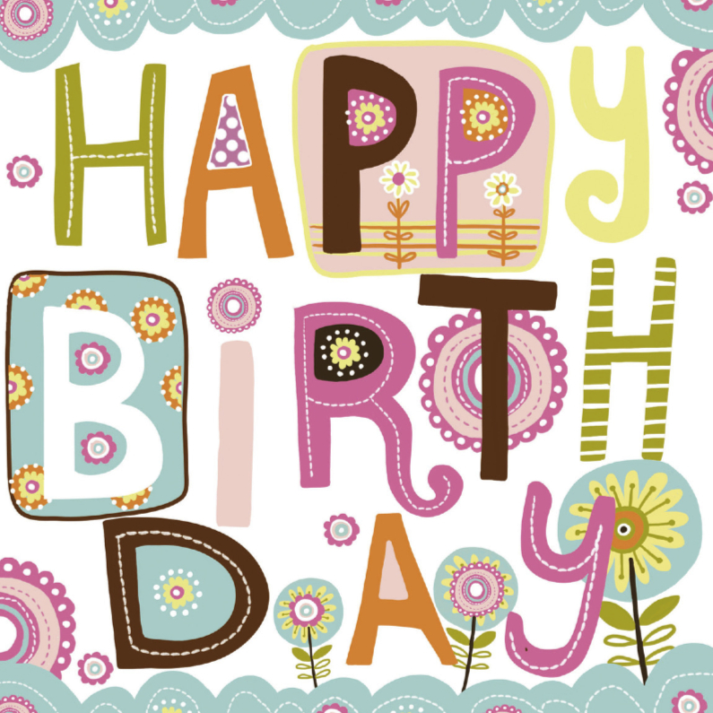 Verjaardagskaarten - Happy Birthday tekst
