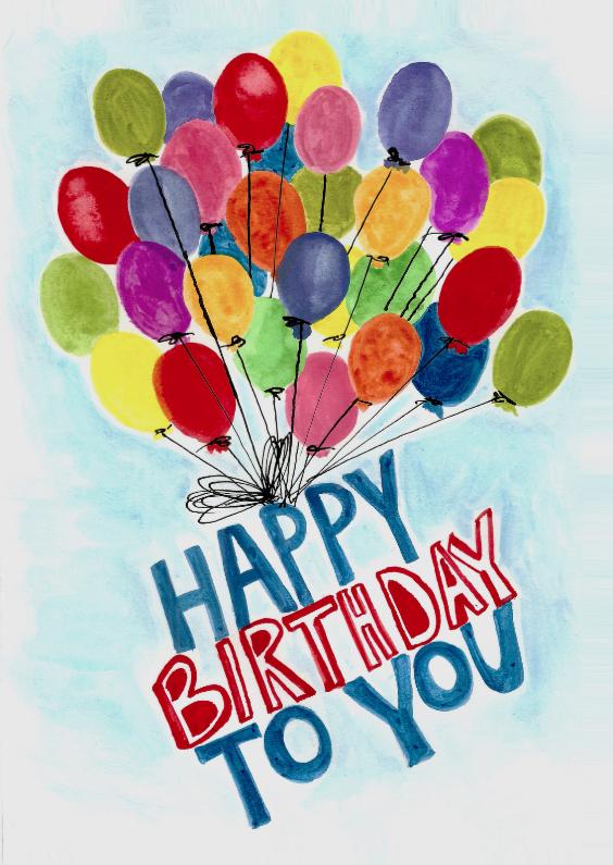 Verjaardagskaarten - Happy birthday to you ballonnen
