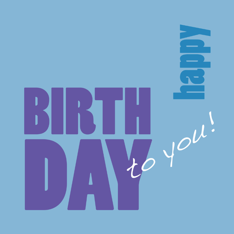 Verjaardagskaarten - Happy Birthday to you - blauw - OT