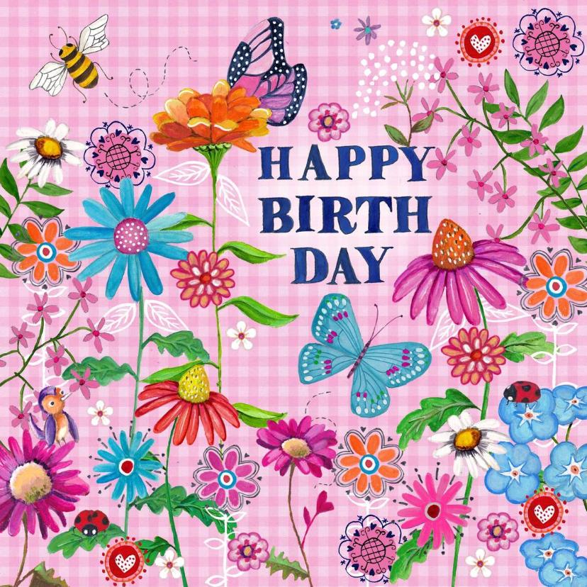 Verjaardagskaarten - Happy Birthday VLINDER Bloemen Vrolijk R