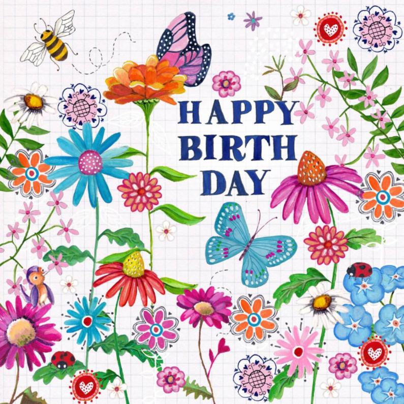 Verjaardagskaarten - Happy Birthday VLINDER Bloemen Vrolijk W
