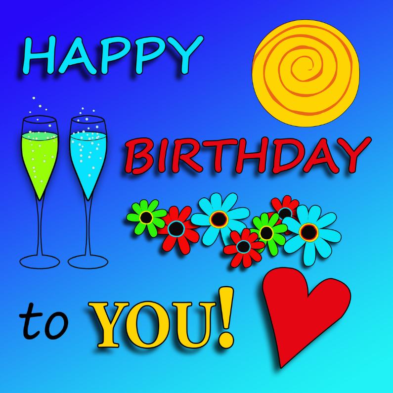 Verjaardagskaarten - Happy birthday, vrolijk