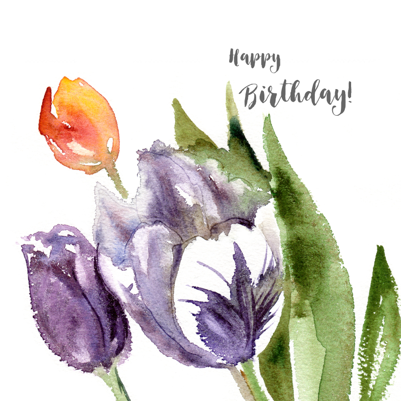 Verjaardagskaarten - Happy Birthday with painted tulips