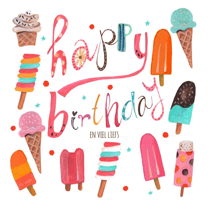 Verjaardagskaarten - Happy birthday zomer ijsjes roze