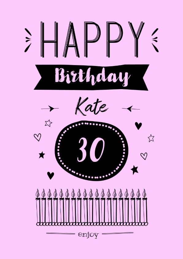 Verjaardagskaarten - Happy Birthday zwart op kleurtje