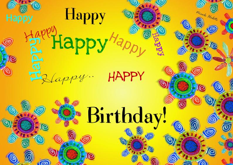 Verjaardagskaarten - Happy happy happy happy