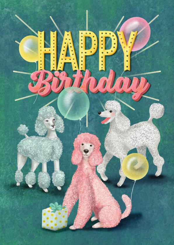 Verjaardagskaarten - Happy Poodle Birthday! Verjaardagkaart met gekleurde poedels