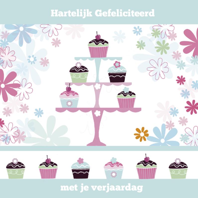 Verjaardagskaarten - Hartelijk Gefelciteerd cupcakes