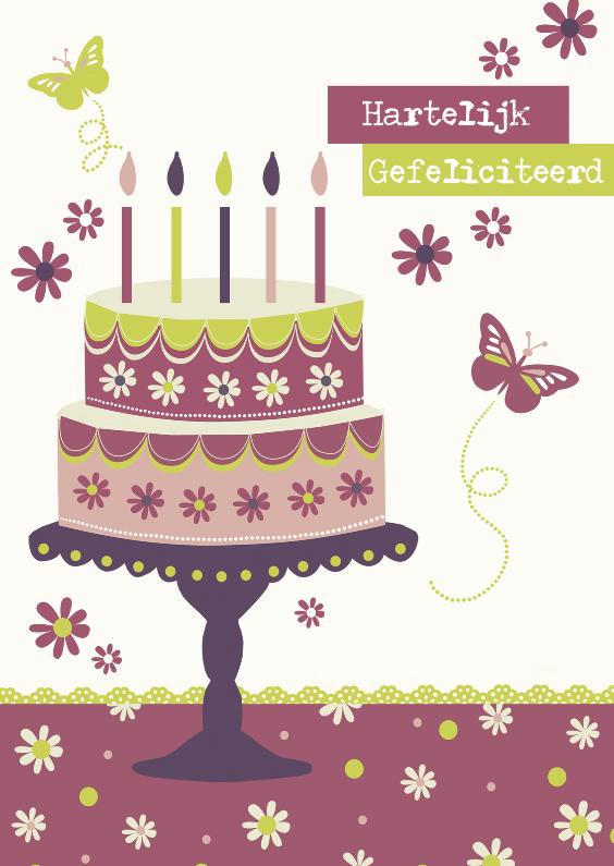 Verjaardagskaarten - Hartelijk Gefeliciteed met leuke taart