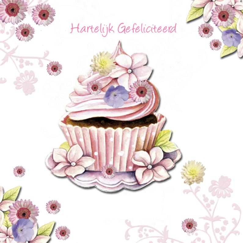 Verjaardagskaarten - Hartelijk Gefeliciteerd cupcake
