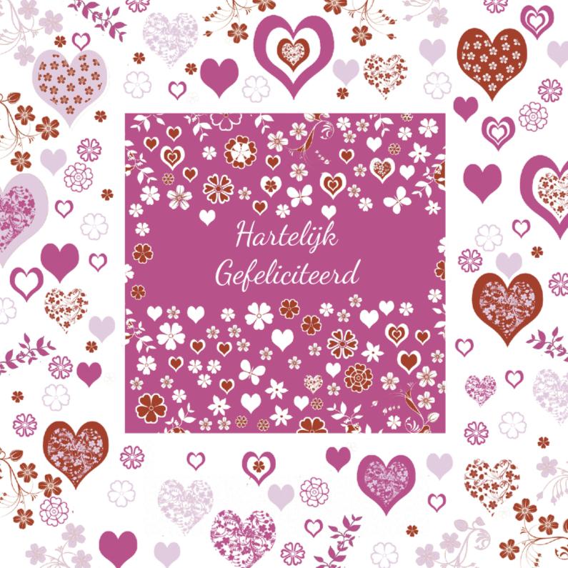 Verjaardagskaarten - Hartelijk Gefeliciteerd met hartjes