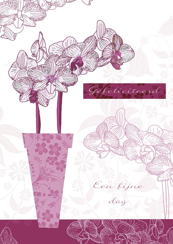 Verjaardagskaarten - Hartelijk Gefeliciteerd met Orchidee