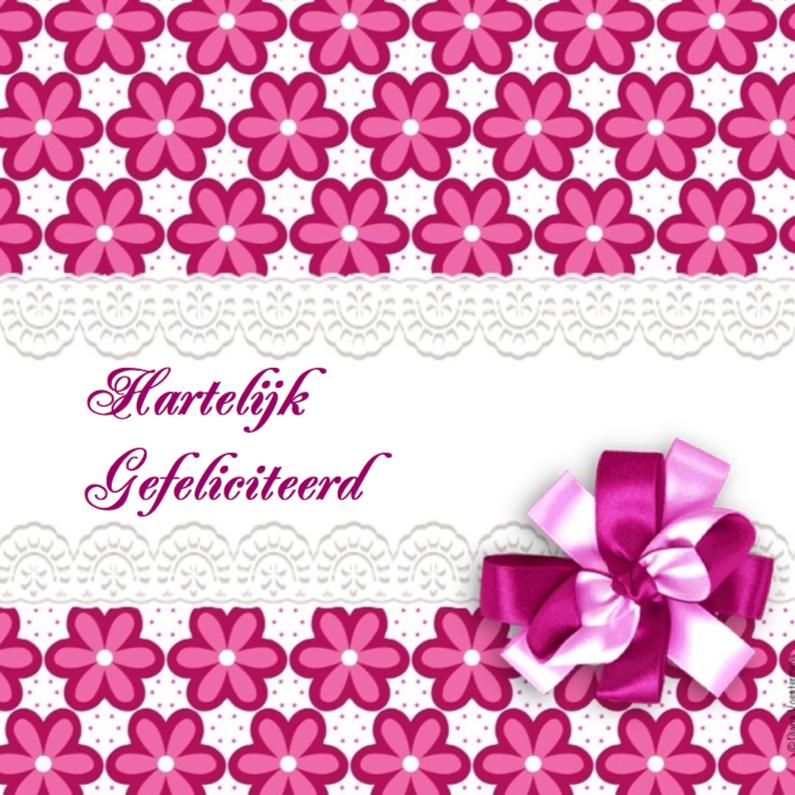 Verjaardagskaarten - Hartelijk gefeliciteerd roze strik
