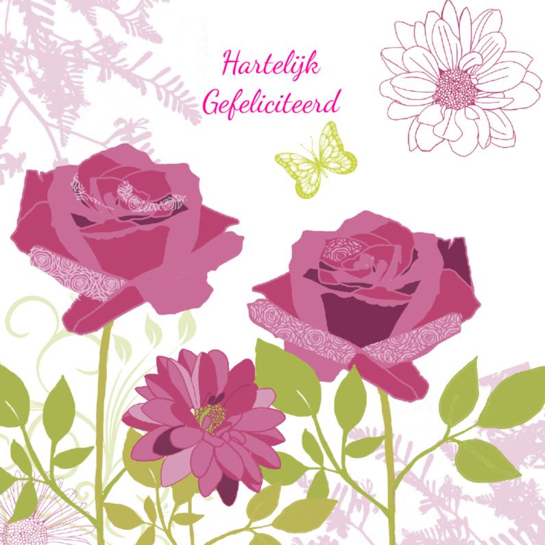 Verjaardagskaarten - Hartelijk Gefeliciteerd rozen