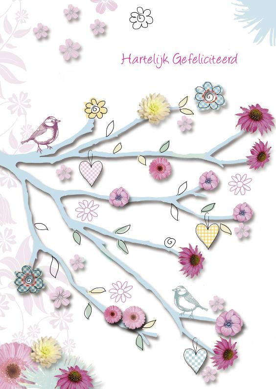 Verjaardagskaarten - Hartelijk Gefeliciteerd takje