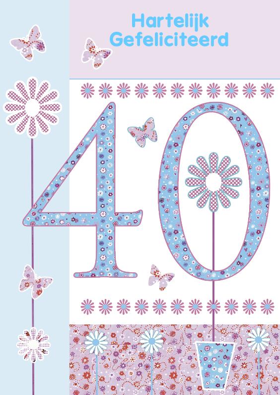Verjaardagskaarten - Hartelijk Gefeliciteerd voor 40 jaar
