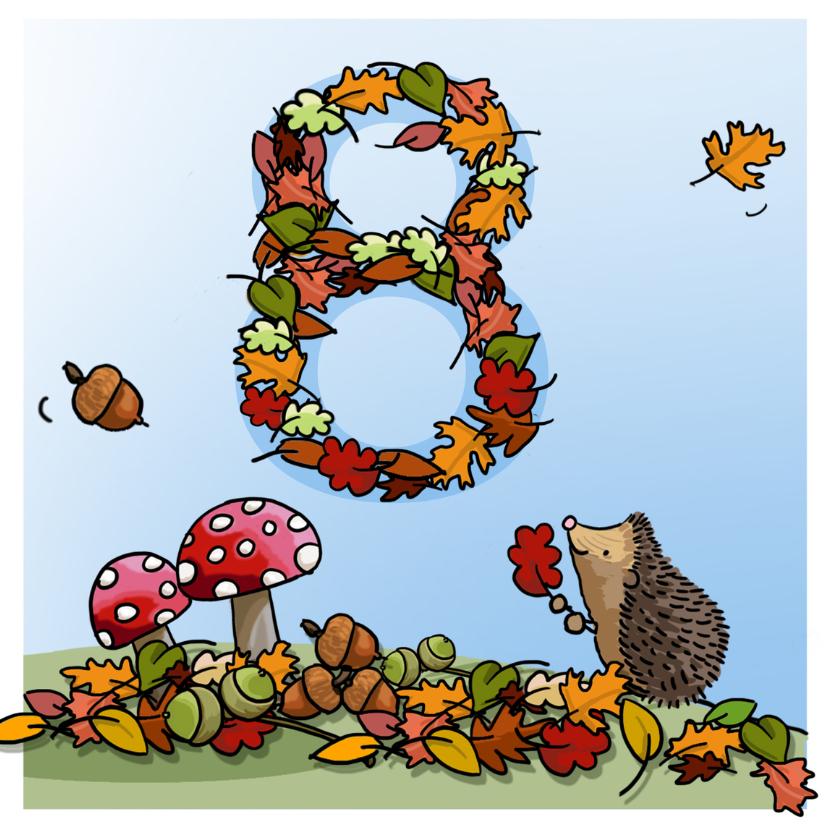 Verjaardagskaarten - Herfst verjaardag 8 Anet Illustraties
