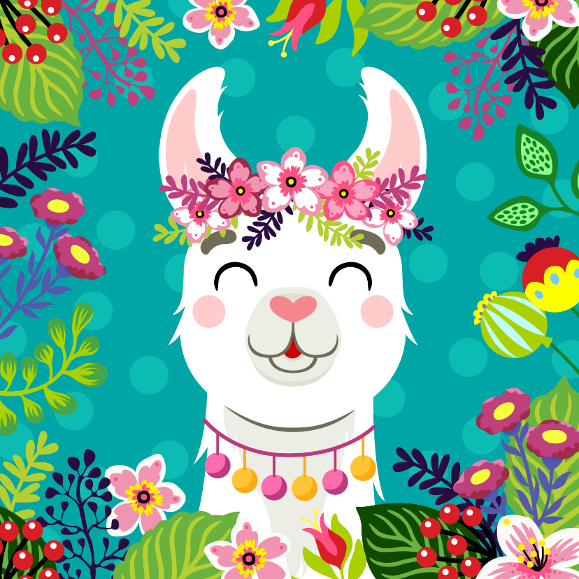 Verjaardagskaarten - Hippe en vrolijke verjaardagskaart met alpaca en bloemen