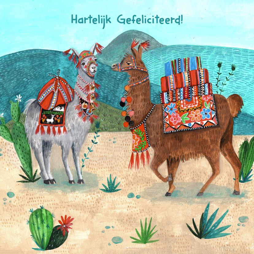 Verjaardagskaarten - Hippe Lama verjaardagskaart