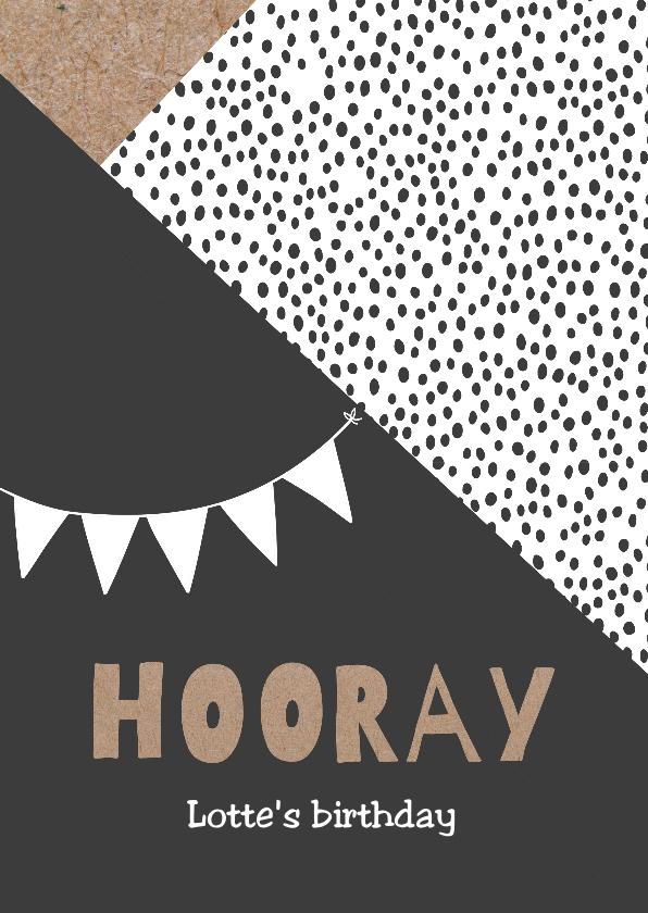 Verjaardagskaarten - Hippe verjaardagkaart 'Hooray'