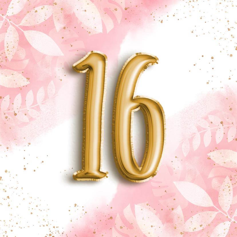 Verjaardagskaarten - Hippe verjaardagskaart 16 botanisch waterverf & folieballon