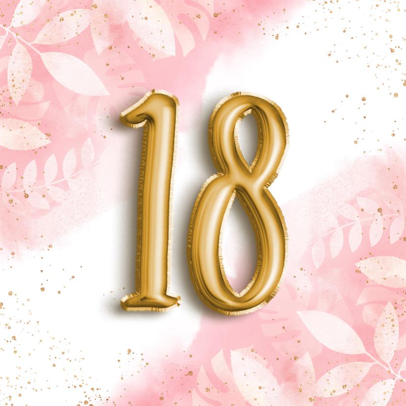 Verjaardagskaarten - Hippe verjaardagskaart 18 waterverf botanisch & folieballon