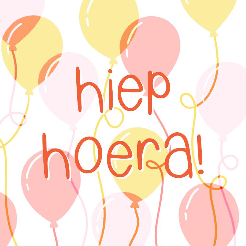 Verjaardagskaarten - Hippe verjaardagskaart ballonnen typografie