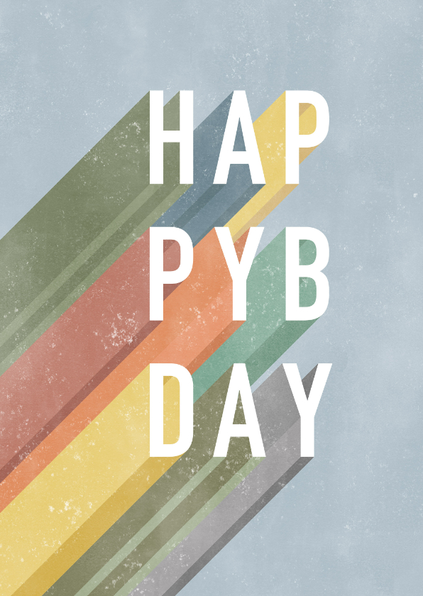 Verjaardagskaarten - Hippe verjaardagskaart man Happy Birthday typografie