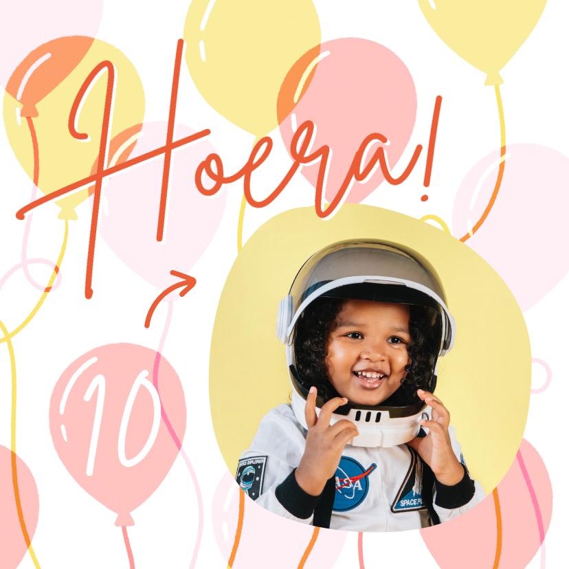 Verjaardagskaarten - Hippe verjaardagskaart met foto, ballonnen en leeftijd