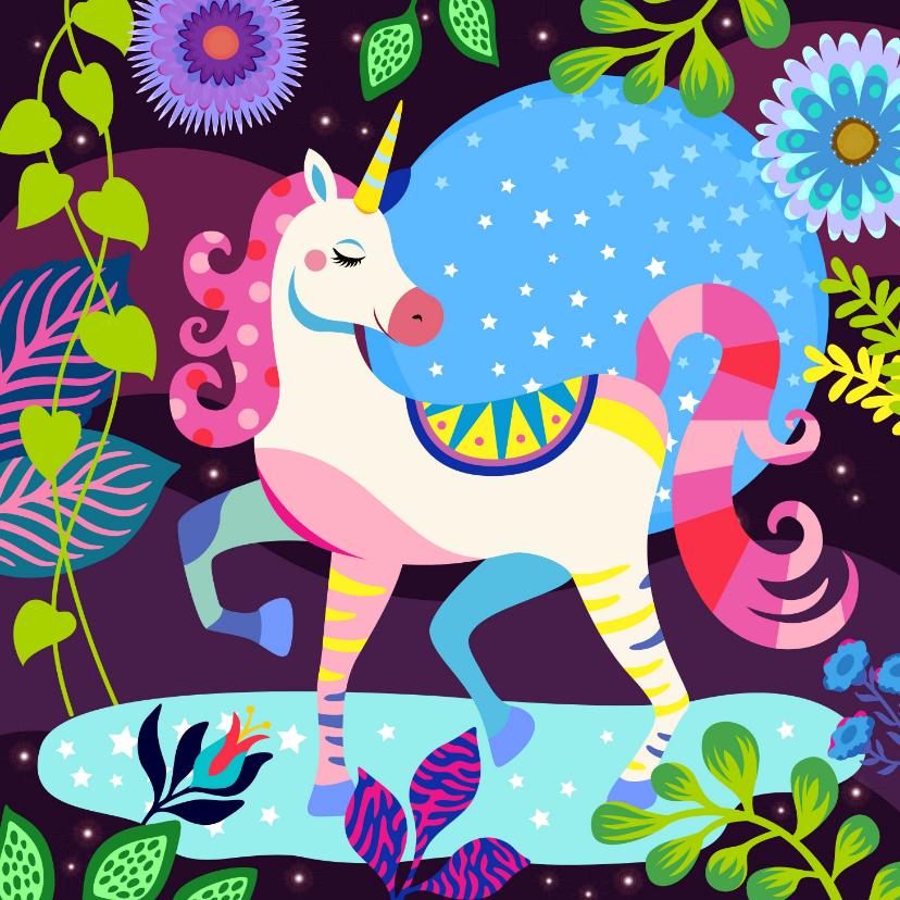 Verjaardagskaarten - Hippe verjaardagskaart met mooie unicorn in fantasiewereld